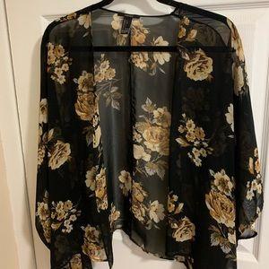 Semi-sheer Forever 21 Floral Kimono, Size: L